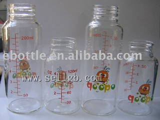 Free samples, glass baby bottles with logo and graduation