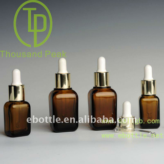 TP-2-31-1 amber square cosmetic glass bottle with aluminum dropper