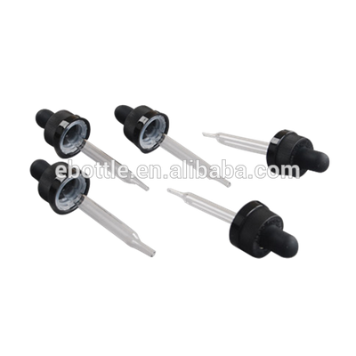 18/400 Thin Ribbed Child Resistant caps with straight glass pipette Boston Rounds droppers and silicon,TPE,Butyl,NBR bulb.