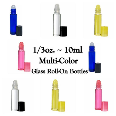 1/3oz.10ml Multi-color Glass Roll-On Bottles