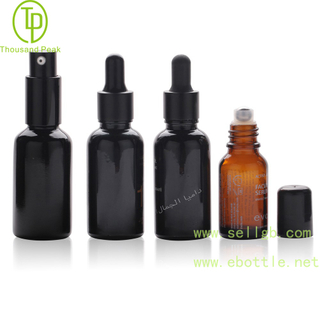 TP-2-51 Black glass bottle with Black dropper black pump