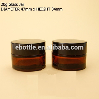 20g Glass cosmetic jar Amber color.