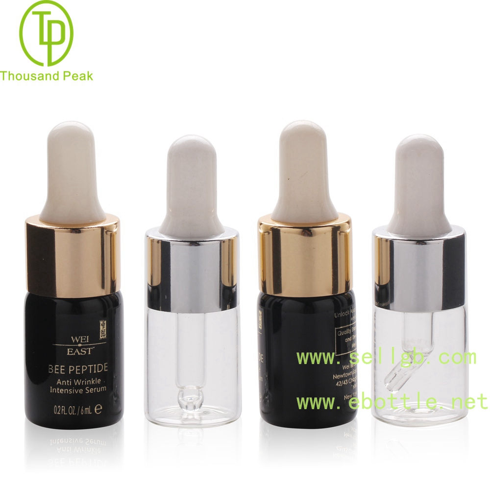 TP-2-146 Black color 6ml cosmetic glass dropper bottle