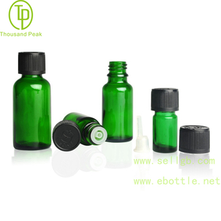 TP-2-21 Green glass bottle with child resistant cap and orifice reducer